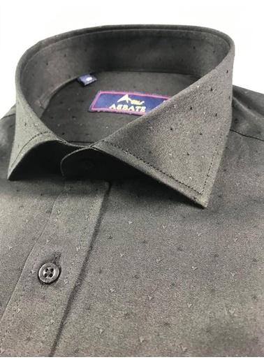Abbate Kolay Ütülenır Klasık Yaka Armürlü Slım Fıt Gömlek Siyah